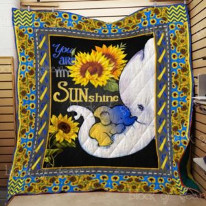 You Are My Sunshine Elephant Sunflower Quilt Blanket Great Customized Gifts For Birthday Christmas Thanksgiving Perfect Gifts For Sunflower Lover
