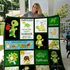 Turtles Make Me Happy Quilt Blanket