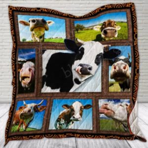 Funny Cow Quilt Blanket