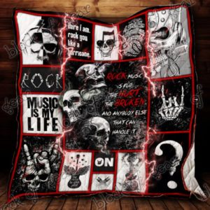 Rock Skull Rock You Like A Hurricane Quilt Blanket Great Customized Gifts For Birthday Christmas Thanksgiving Perfect Gifts For Skull Lover
