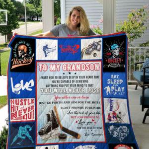 To My Grandson, Ice Hockey Quilt Blanket