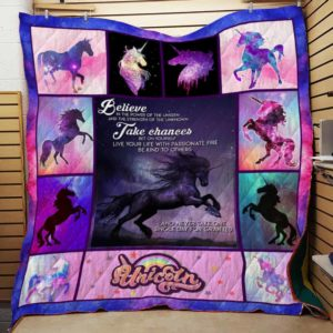 Unicorn Believe In The Power Of The Unseen Quilt Blanket Great Customized Gifts For Birthday Christmas Thanksgiving Perfect Gifts For Unicorn Lover