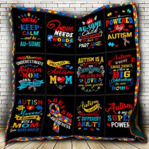 Autism Theme Keep Calm And Be Au-Some Quilt Blanket Great Customized Blanket Gifts For Birthday Christmas Thanksgiving