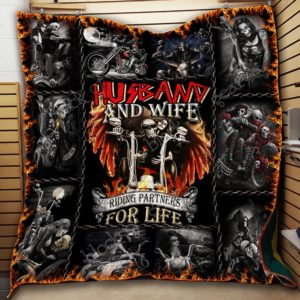 Husband And Wife Riding Partners For Life Quilt Blanket Great Customized Blanket Gifts For Birthday Christmas Thanksgiving
