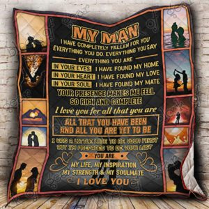 My Man Everything You Do Everything You Say Quilt Blanket Great Customized Gifts For Birthday Christmas Thanksgiving Wedding Valentine's Day Perfect Gifts For Couple