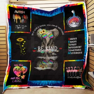Be Kind Autism Quilt Blanket