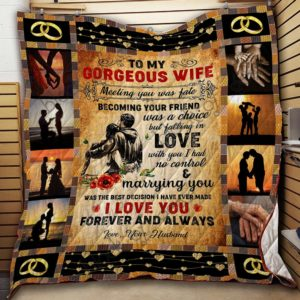 To My Gorgeous Wife Quilt Blanket