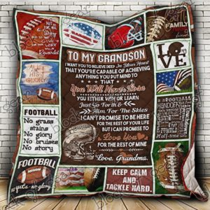 Personalized American Football To My Grandson From Grandma Keep Calm And Tackle Hard Quilt Blanket Great Customized Gifts For Birthday Christmas Thanksgiving Perfect Gifts For American Football Lover
