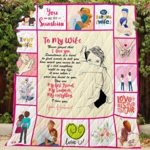 I Love You, My Husband Quilt Blanket