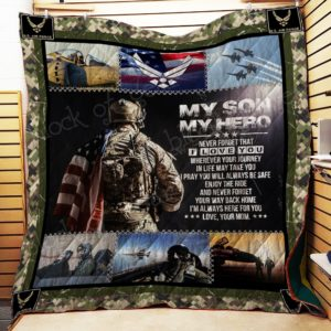 Personalized Us Air Force To My Son From Mom I'm Always Here For You Quilt Blanket Great Customized Gifts For Birthday Christmas Thanksgiving Perfect Gifts For Air Force