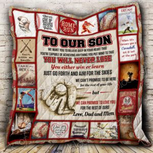 Baseball Son, Love, Dad And Mom Quilt Blanket