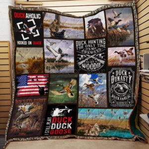 Duck Hunting Hooked On Quack Quilt Blanket Great Customized Gifts For Birthday Christmas Thanksgiving Perfect Gifts For Hunting Lover