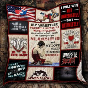 My Wrestler Your Battle Is My Battle Quilt Blanket Great Customized Gifts For Birthday Christmas Thanksgiving Perfect Gifts For Wrestling Lover