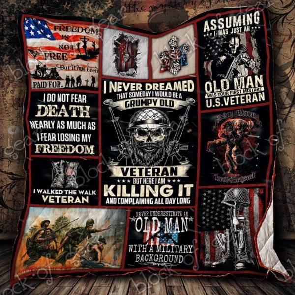 I Am A Grumpy Old Veteran Quilt Blanket