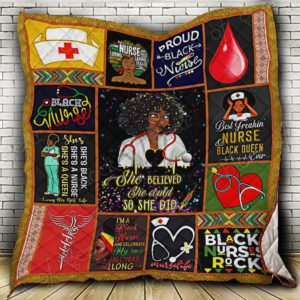 Proud Black Nurse Quilt Blanket
