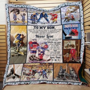 To My Son, Ice Hockey Quilt Blanket