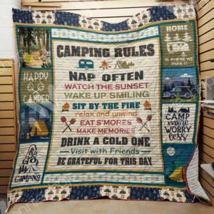 Camping Rules Nap Often Watch The Sunset Visit With Friends Be Grateful For This Day Quilt Blanket Great Customized Blanket Gifts For Birthday Christmas Thanksgiving