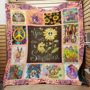 Hippie You Are My Sunshine Quilt Blanket Great Customized Gifts For Birthday Christmas Thanksgiving Perfect Gifts For Hippie