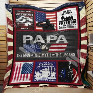 Veteran Papa The Man The Myth The Legend Quilt Blanket Great Customized Blanket Gifts For Birthday Christmas Thanksgiving
