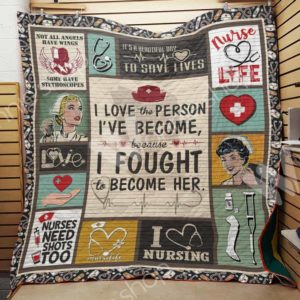 Nurse Life I Fought To Become Her Quilt Blanket Great Customized Gifts For Birthday Christmas Thanksgiving Perfect Gift For Nurse