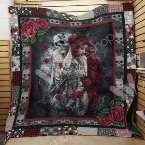 Skull Couple And Roses Quilt Blanket Great Customized Gifts For Birthday Christmas Thanksgiving Perfect Gifts For Skull Lover