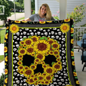 Sunflower Skull Pattern Quilt Blanket Great Customized Gifts For Birthday Christmas Thanksgiving Perfect Gifts For Sunflower Lover
