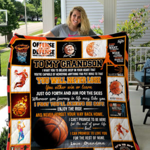 Personalized Basketball To My Grandson From Grandma Never Forget Your Way Back Home Quilt Blanket Great Customized Gifts For Birthday Christmas Thanksgiving Perfect Gifts For Basketball Lover