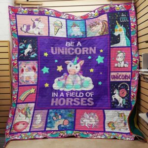 Unicorn A Field Of Horses Quilt Blanket Great Customized Gifts For Birthday Christmas Thanksgiving Perfect Gifts For Unicorn Lover