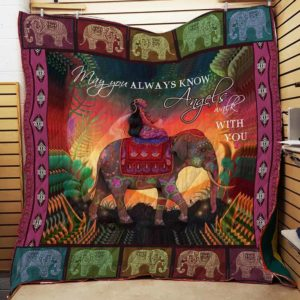 Angel Walks With You – Bohemian Elephant Quilt Blanket