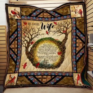 Personalized Cardinal Bird My Angel Wife I Miss You So Much Quilt Blanket Great Customized Gifts For Birthday Christmas Thanksgiving Perfect Gifts For My Wife In Heaven