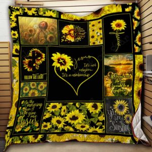 Jesus Christ Follow His Light Quilt Blanket Great Customized Gifts For Birthday Christmas Thanksgiving Perfect Gifts For Sunflower Lover