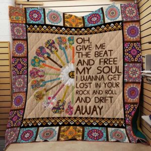 Hippie Give Me The Beat Quilt Blanket Great Customized Gifts For Birthday Christmas Thanksgiving Perfect Gifts For Hippie