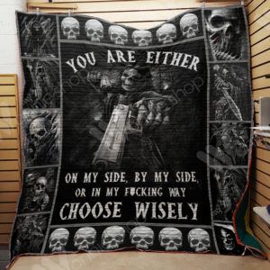 Skull With Gun You Are Either On My Side Quilt Blanket Great Customized Gifts For Birthday Christmas Thanksgiving Perfect Gifts For Skull Lover