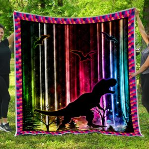 Dinosaur Colorful Stripes Quilt Blanket Great Customized Gifts For Birthday Christmas Thanksgiving Perfect Gifts For Dinosaur Lover