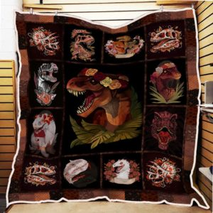 Dinosaur Wearing Flower Wreath Quilt Blanket Great Customized Gifts For Birthday Christmas Thanksgiving Perfect Gifts For Dinosaur Lover