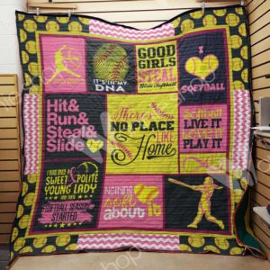 Softball Hit And Run And Steal And Smile Quilt Blanket Great Customized Gifts For Birthday Christmas Thanksgiving Perfect Gifts For Softball Lover