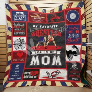 Wrestling Mom Quilt Blanket