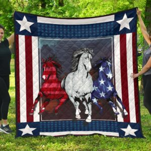 Horse With American Flag Pattern Quilt Blanket Great Customized Blanket Gifts For Birthday Christmas Thanksgiving
