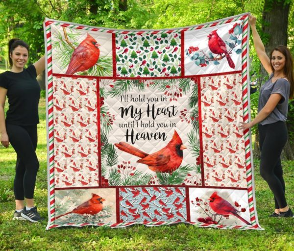 Red Bird I'll Hold You In My Heart Until I Hold You In Heaven Quilt Blanket Great Customized Blanket Gifts For Birthday Christmas Thanksgiving