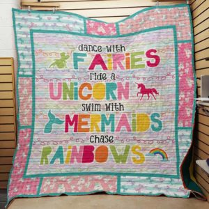 Unicorn Dance With Fairies Quilt Blanket Great Customized Gifts For Birthday Christmas Thanksgiving Perfect Gifts For Unicorn Lover