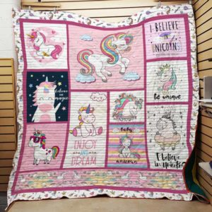 I Believe In Unicorns Quilt Blanket Great Customized Gifts For Birthday Christmas Thanksgiving Perfect Gifts For Unicorn Lover