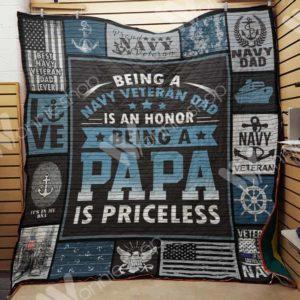 Navy Veteran Dad Quilt Blanket