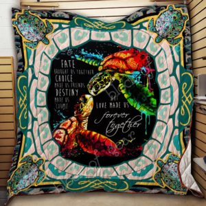 Turtle Love Made Us Forever Together Quilt Blanket Great Customized Blanket Gifts For Birthday Christmas Thanksgiving