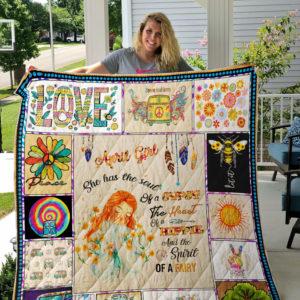 April Girl Hippie Quilt Blanket