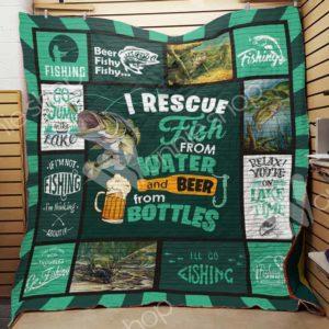 Fishing Beer Quilt Blanket