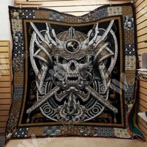 Skull Samurai Quilt Blanket Great Customized Gifts For Birthday Christmas Thanksgiving Perfect Gifts For Skull Lover