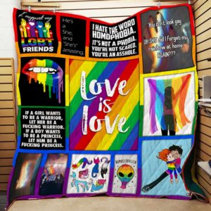 Lgbt Love Is Love Quilt Blanket Great Customized Blanket Gifts For Birthday Christmas Thanksgiving