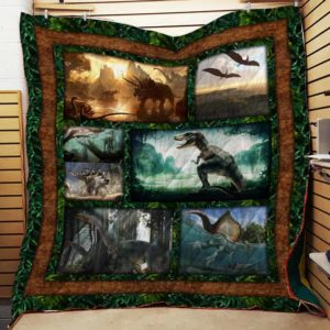 Dinosaur In Natural Quilt Blanket Great Customized Blanket Gifts For Birthday Christmas Thanksgiving