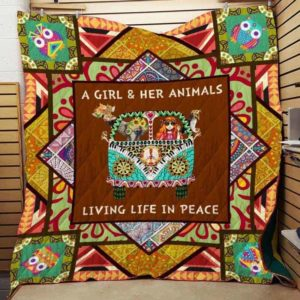 Hippie Animal Living Life In Peace Quilt Blanket Great Customized Gifts For Birthday Christmas Thanksgiving Perfect Gifts For Hippie