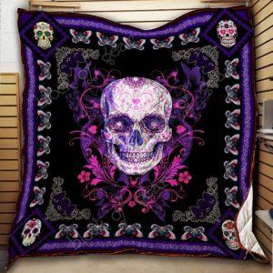 Purple Skull Quilt Blanket Great Customized Blanket Gifts For Birthday Christmas Thanksgiving